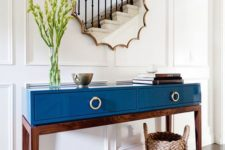 26 mid-century style table in blue lacquer finish with drawers and contrasting legs