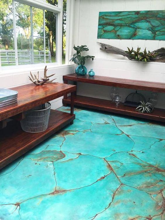 concrete floors may look like turquoise mosaics like here