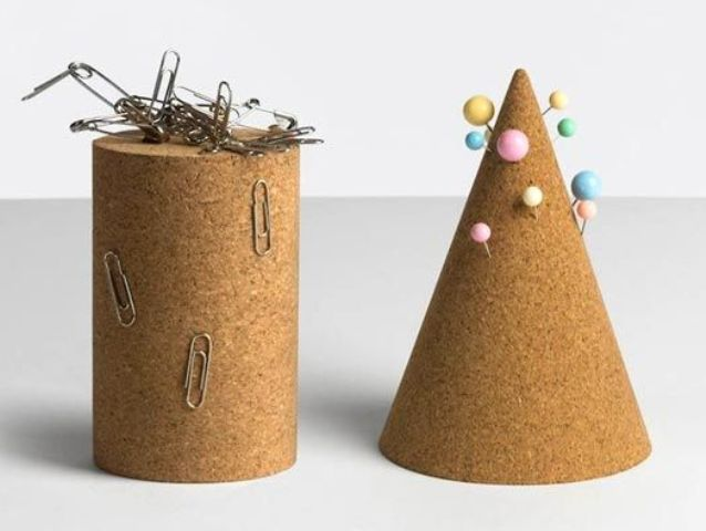 cork desk accessories as pinboard or a magnet