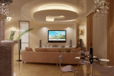 27 sleek ceiling with various levels of light and different chandeleirs