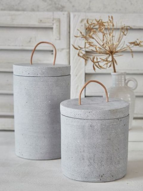 concrete jars with lids for storage of any kind