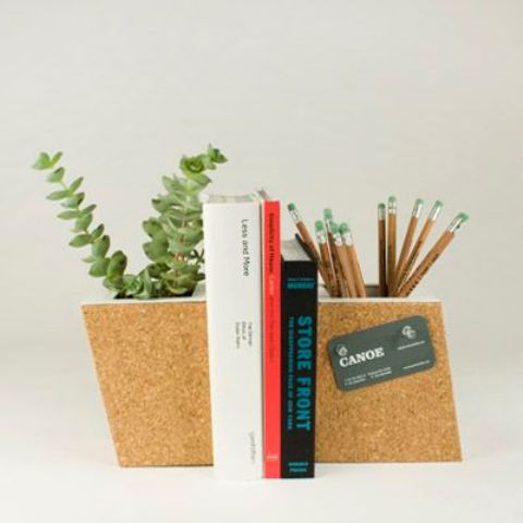 bookends that double as a planter and a mini pin board