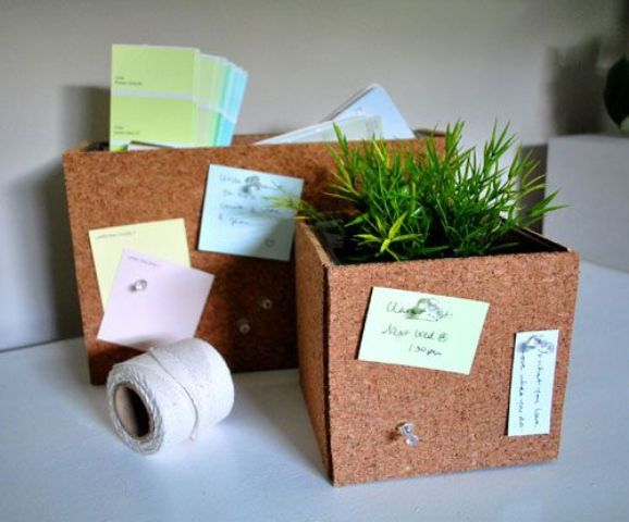 cork planters and paper storage can double as pinboards