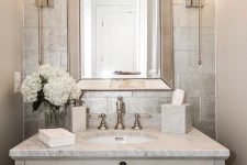30 elegant powder room with a whitewashed wooden sink stand