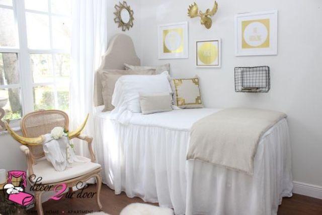 farmhouse and shabby chic style in white and tan looks cozy