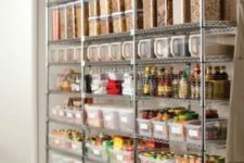30 plastic air-tight containers and wire baskets on metal shelving units