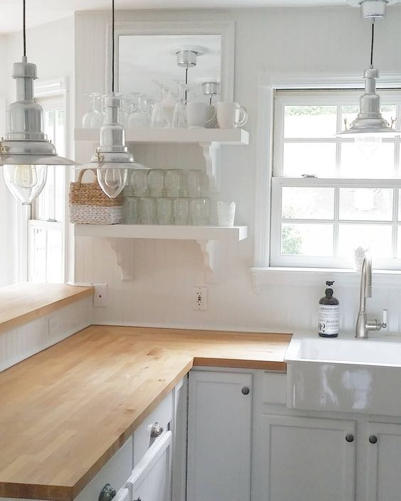 Butcher Block Style Kitchen Counter : 30 Rustic Countertops That Add Coziness To Your Home - DigsDigs