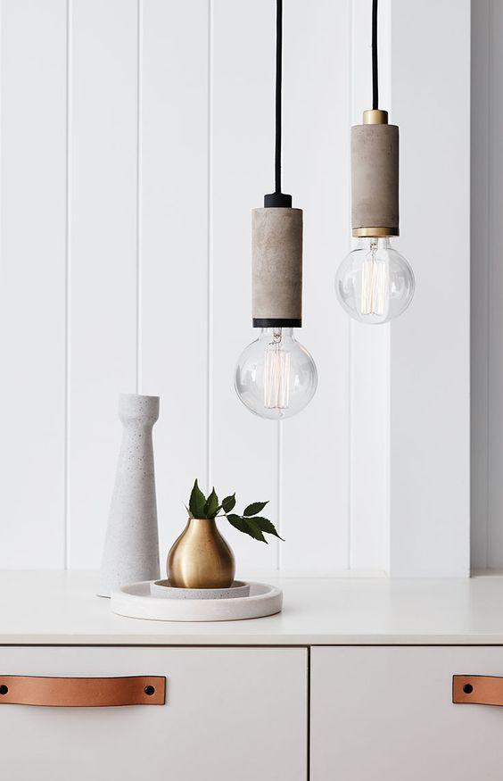 pendant concrete lights with metallic or black details