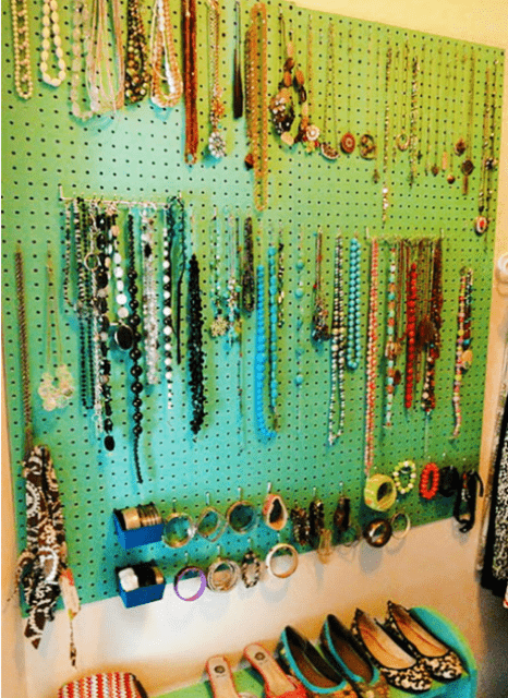 colorful pegboard for jewelry storage of all kinds
