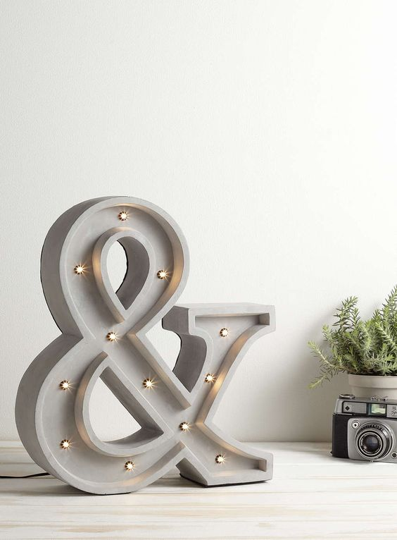 concrete ampersand lamp for cool modern decor