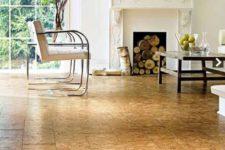 32 cork floors in a living room will add a warm feeling