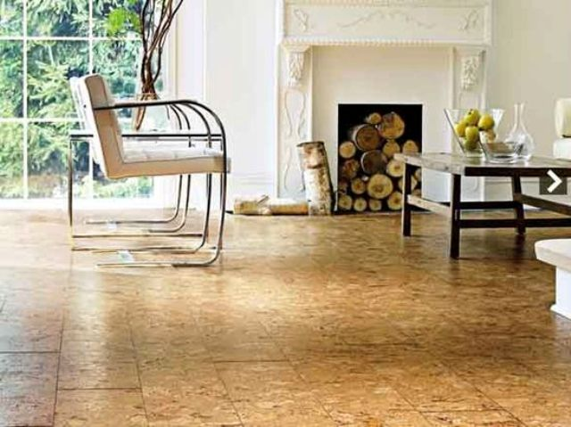 cork floors in a living room will add a warm feeling