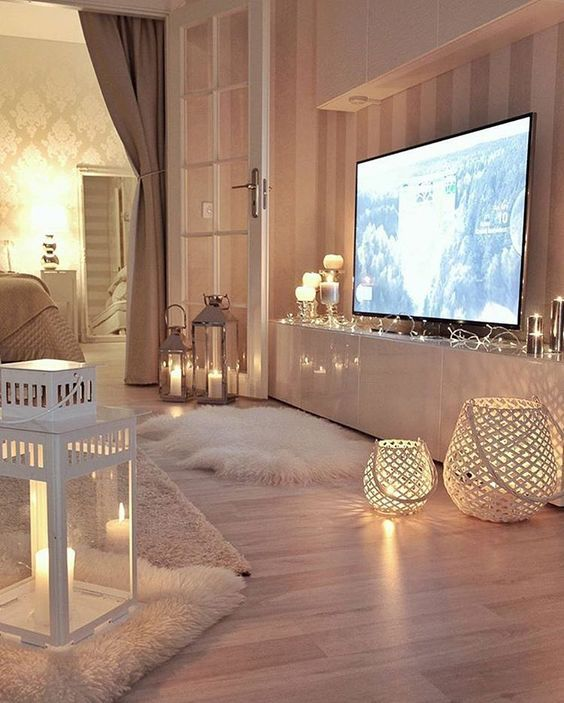 lots of candle lanterns and candle holders will make your interior cozier