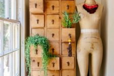32 you can use a vintage dresser or apothecary piece for planting what you want