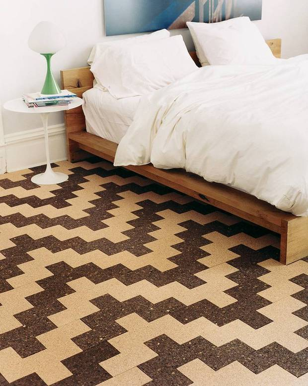 brilliantly patterned cork floor is comfy and cute