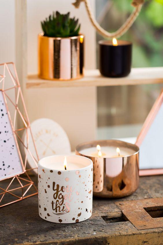 cool metallic candle holders