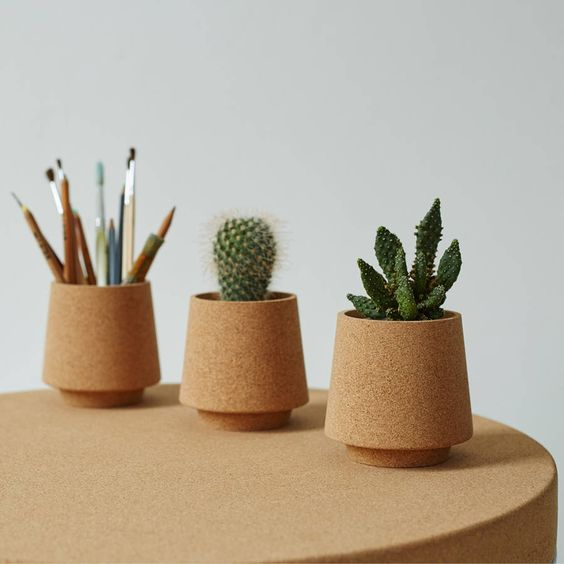 stackable cork vessels, perfect to use as neat little desk tidies or as small plant pots