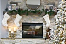 33 stacked stone fireplace will catch an eye and add coziness