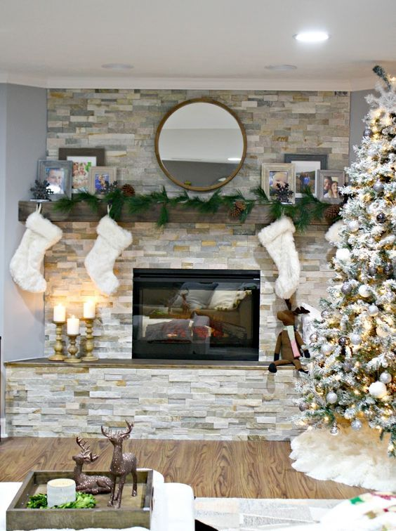 stacked stone fireplace will catch an eye and add coziness