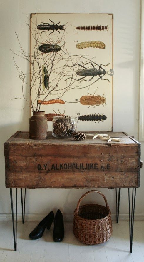 repurposed vintage chest from a fleamarket  and hairpin legs
