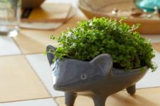 35 cute hedgehog planter with small greenery plants
