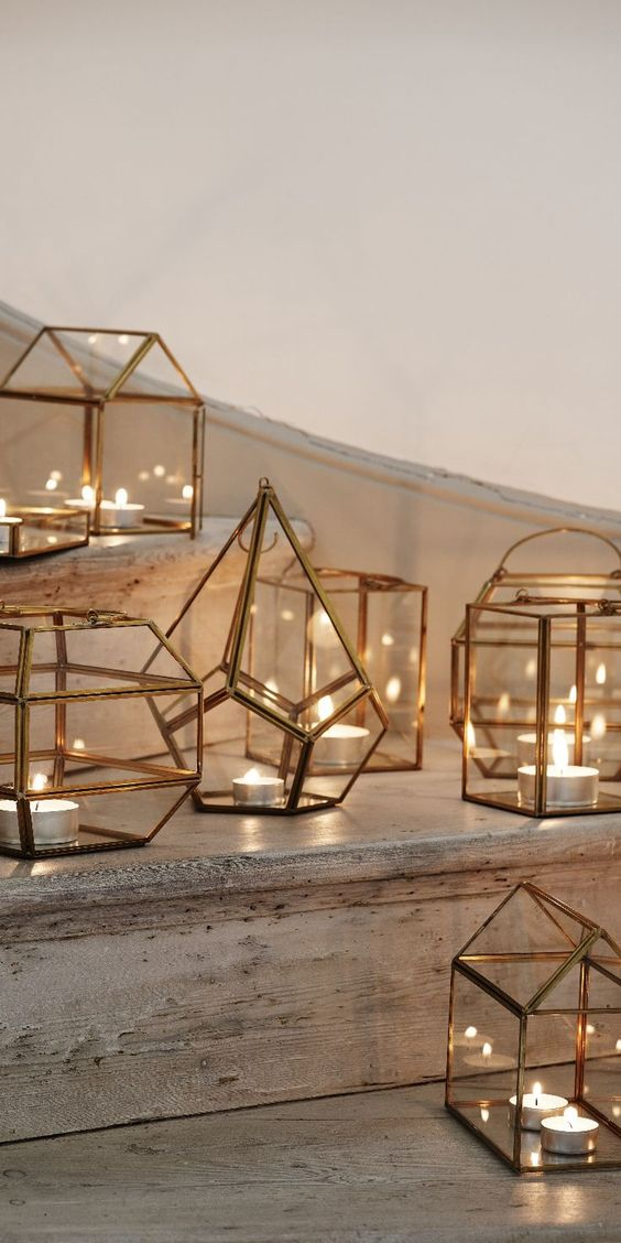 votive candles are no less great than others, place them into cool geometric lanterns