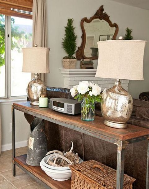 wooden tops and rusty metal frames for an industrial entryway console