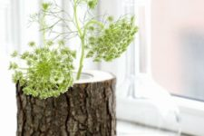 36 wooden log planters for rustic decor, they can be easily DIYed