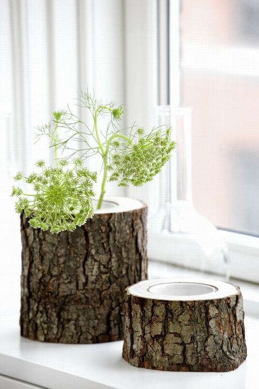 wooden log planters for rustic decor, they can be easily DIYed