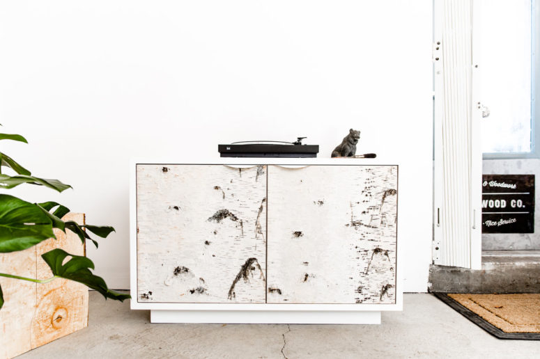 Birch Bark cabinets are created using real birch bark, which is durable and cool natural material