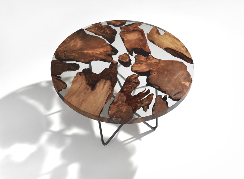 Earth table features 50,000 year old wood in resin