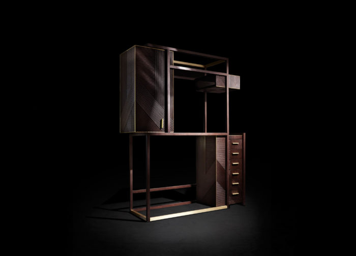 Hampton display cabinet is also an art work with a balance between empty and filled, with chic finishes and eye catchy shapes