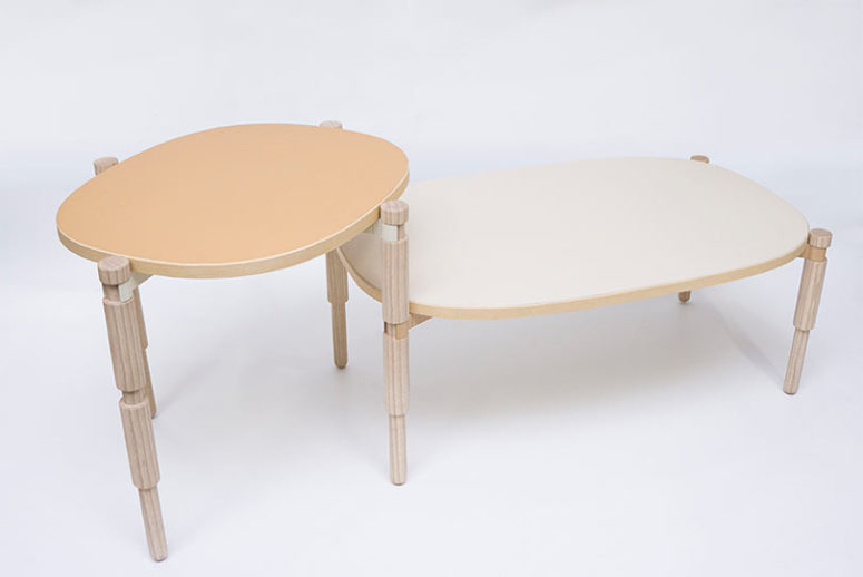 Leg O table combines old turnery techniques with a principle of a modern toy, each of six legs were crafted using an old woodworking tool