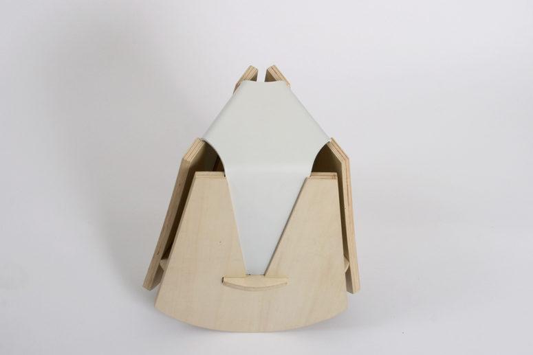 Unique Swinging Stool With Geometric Design