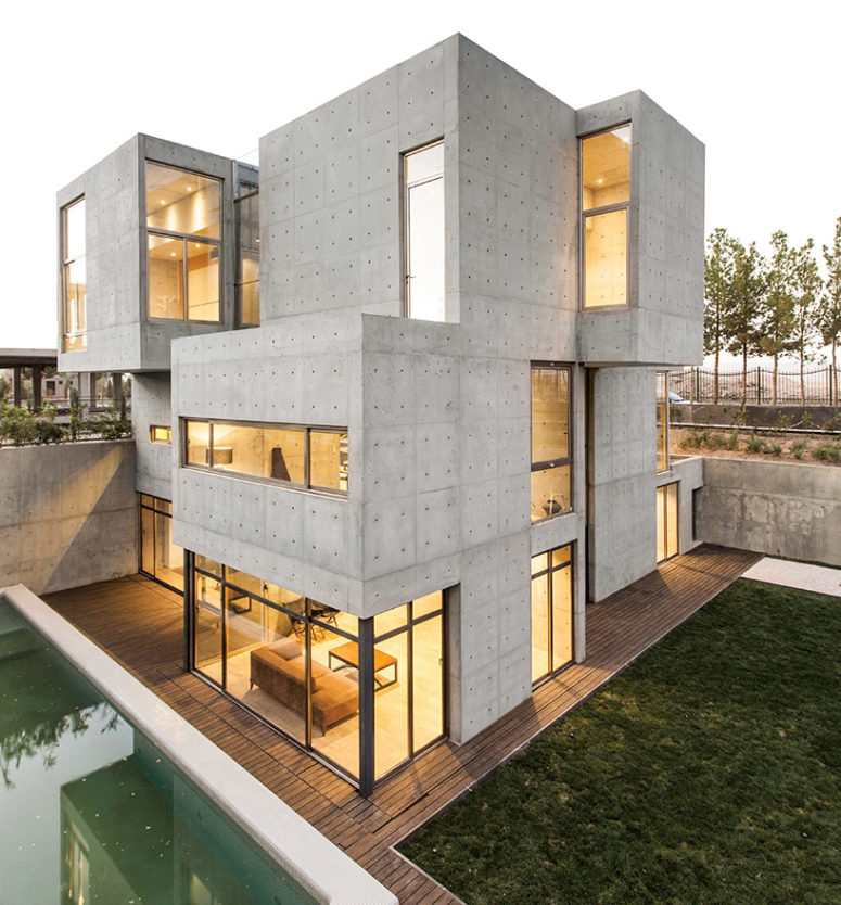 This modern industrial Villa 131 is bult of concrete and is located in Iran