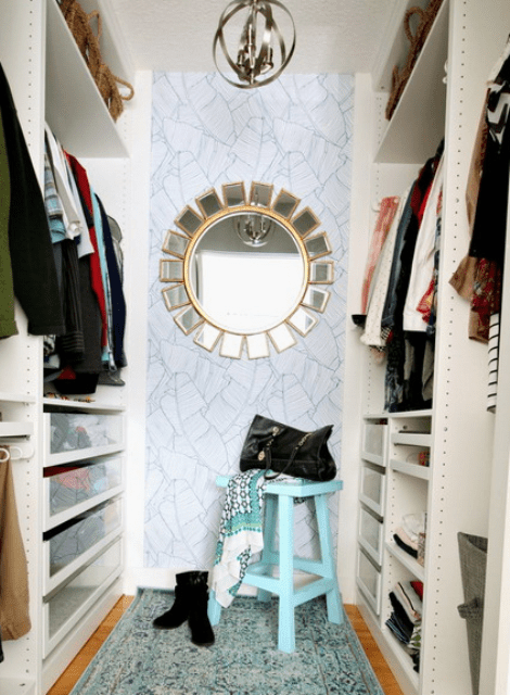 This small girlish closet was renovated by its owner into a modern and comfy space for everything she needs