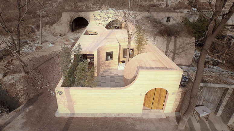 This unique Cave House is situated in China, on a plateau next to the original cave dwellings