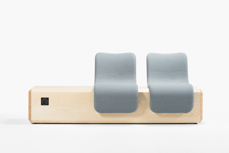 Each piece lets comfortable seating and charging devices