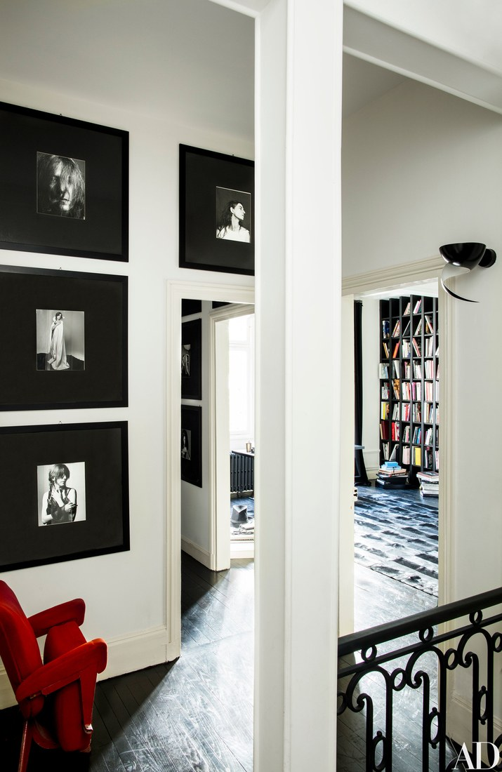 She preferred a monochromatic black and white color palette for all her homes including this one