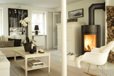 02 The living room is decorated in creamy shades and there are stylish black accents