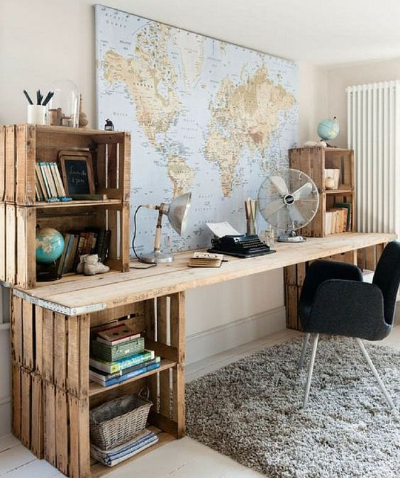 Attrayant Cover A Wall In Your Home Office With A Large Map Of The World Or Some