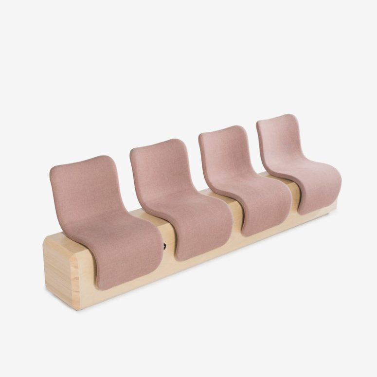 Ascent consists of plywood, cold foam and is upholstered with different colored textiles