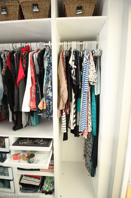 There are hangers for clothes, baskets for storage and drawers for accessories