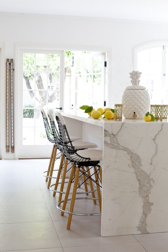 adorable waterfall quartz countertop for a kitchen island looks refined