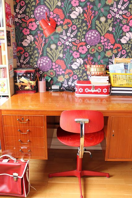 bold floral wallpaper for a home office