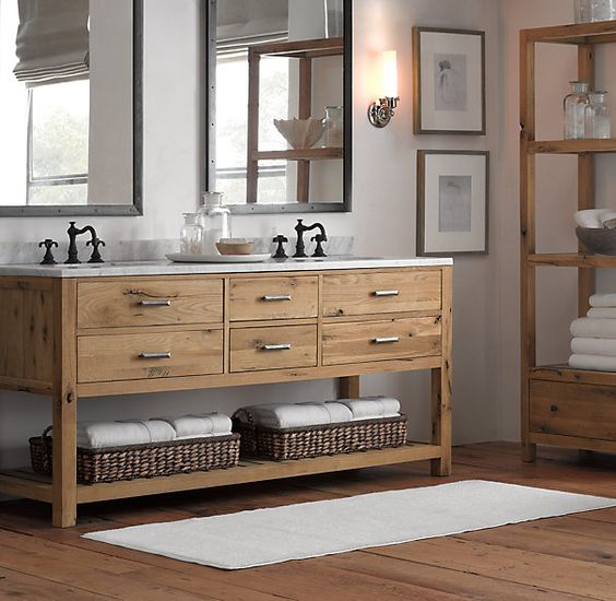 34 rustic bathroom vanities and cabinets for a cozy touch for Rustic modern bathroom ideas