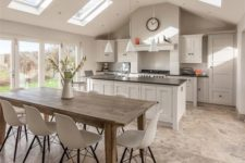 03 modern farmhouse-inspired kitchen and diner with a rustic dining table