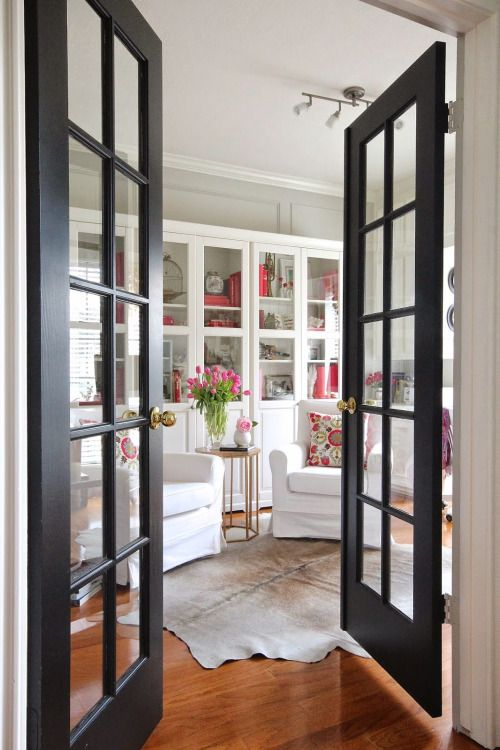 33 stylish interior glass doors ideas to rock digsdigs for Black french doors exterior