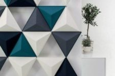 04 3D textured triangle wall panel for creating a cool effect
