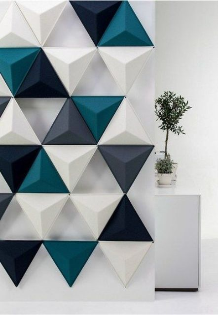3D textured triangle wall panel for creating a cool effect